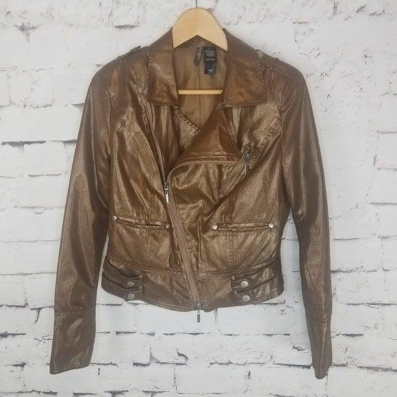 Bisou Bisou Metallic Cropped Moto Jacket