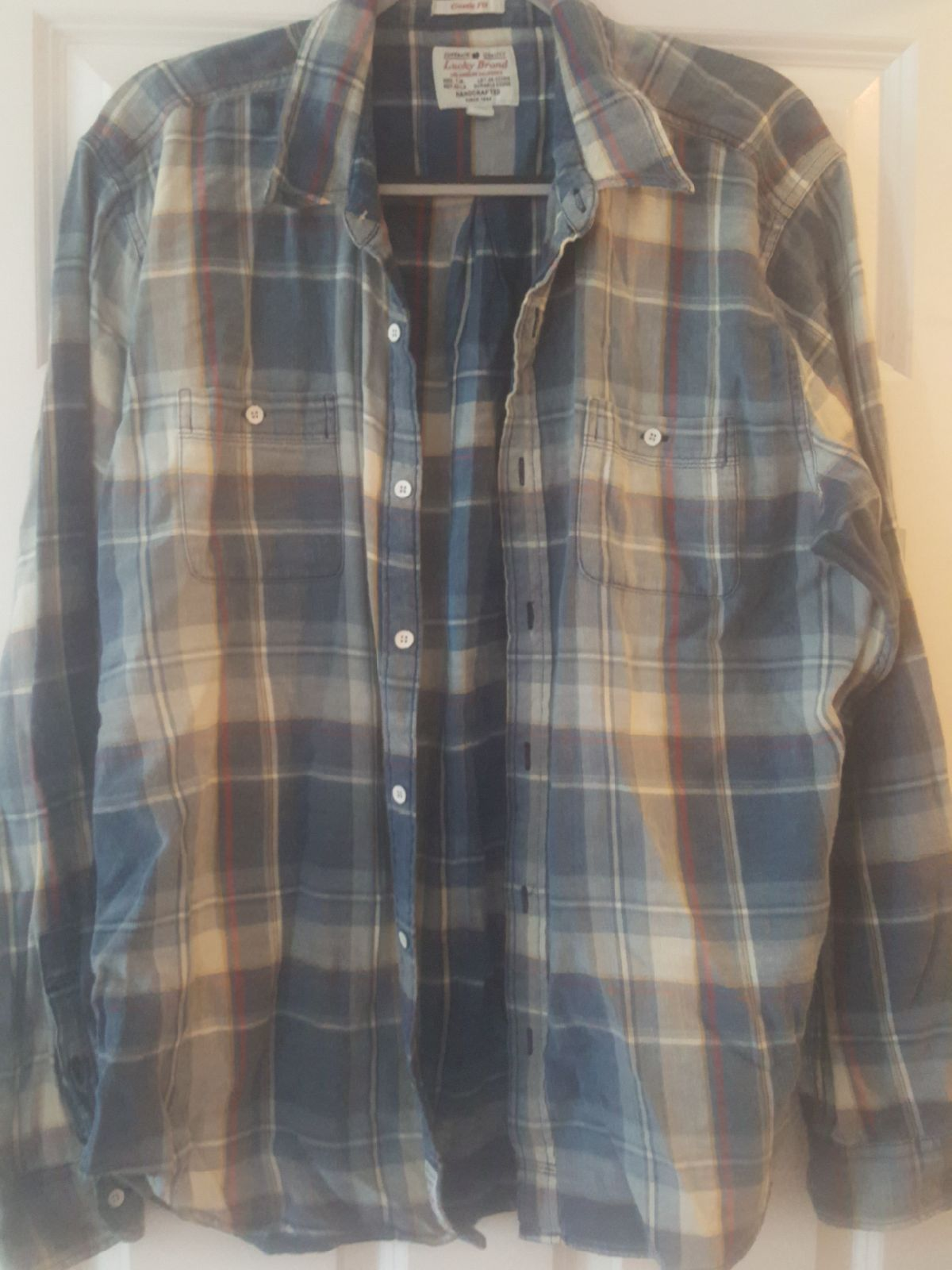 Lucky Brand Mens Button-Down Plaid Shirt