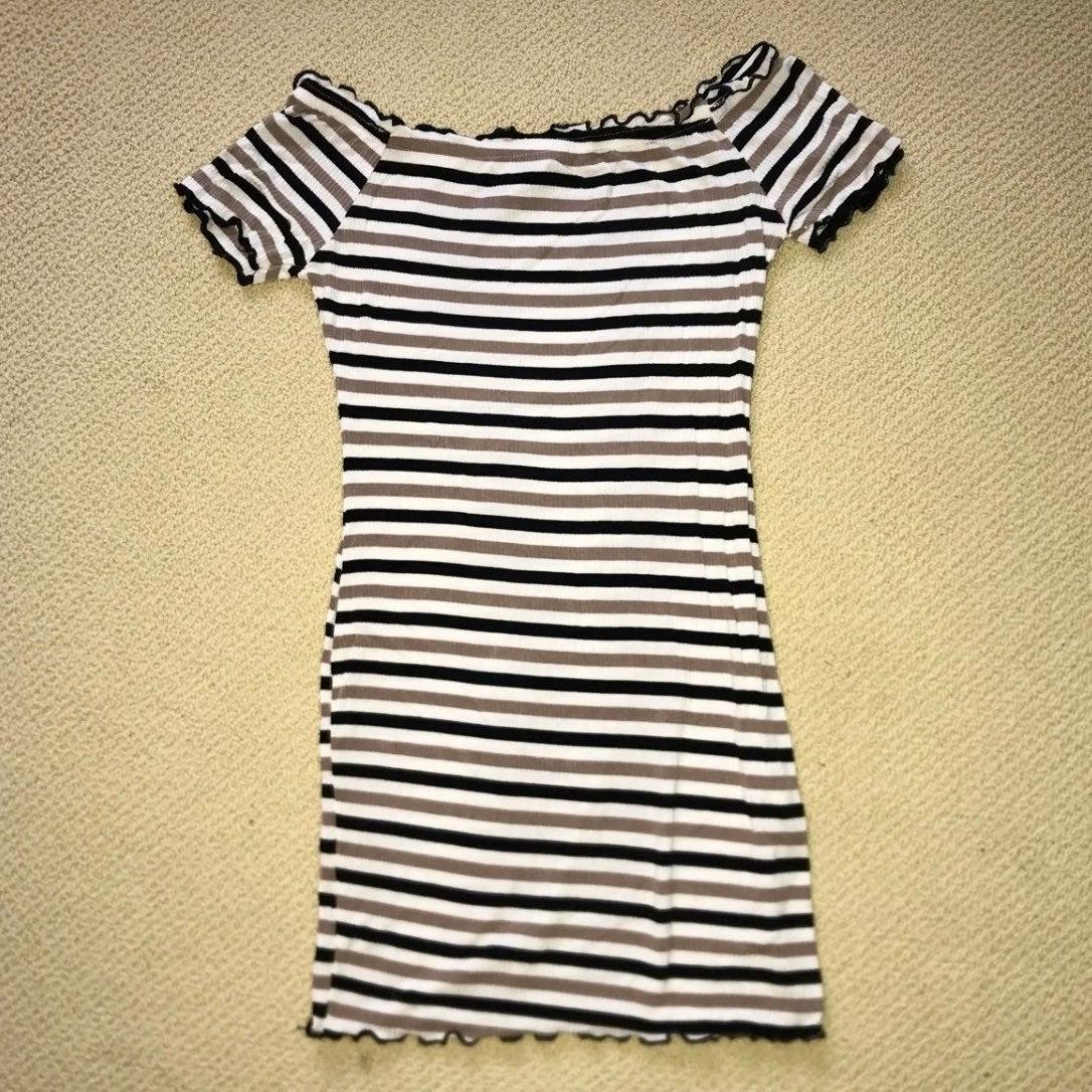 Off-Shoulder Striped Bodycon Dress S