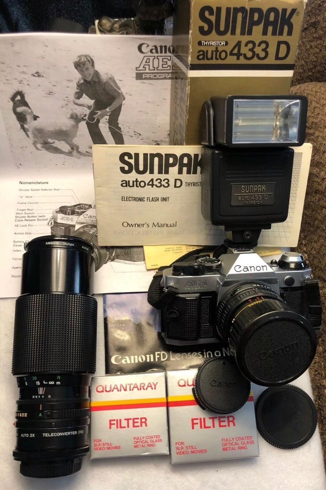 CANON AE-1 PROGRAM 35mm SLR Camera +XTRA