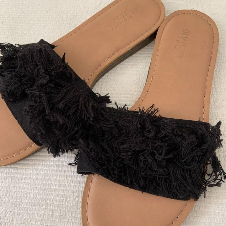 Old Navy Black Tassel Fringe Slide Shoe