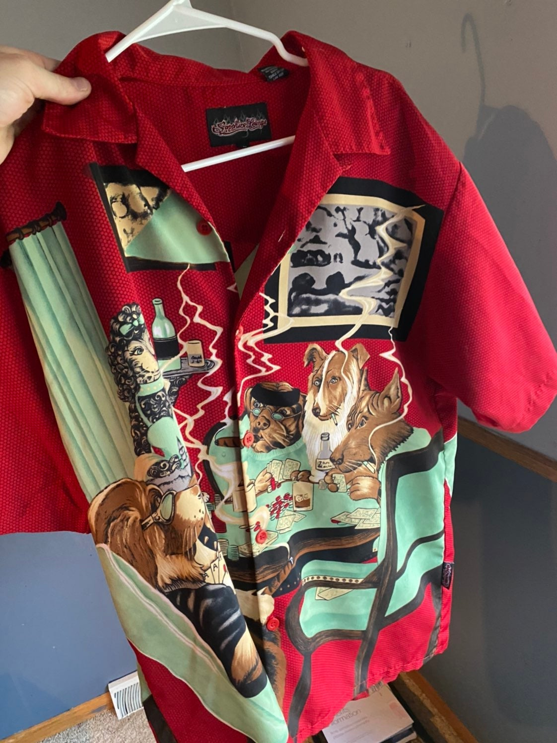 vintage classic dog poker button up