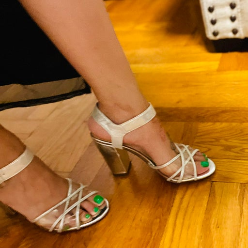 Clear silver sandals