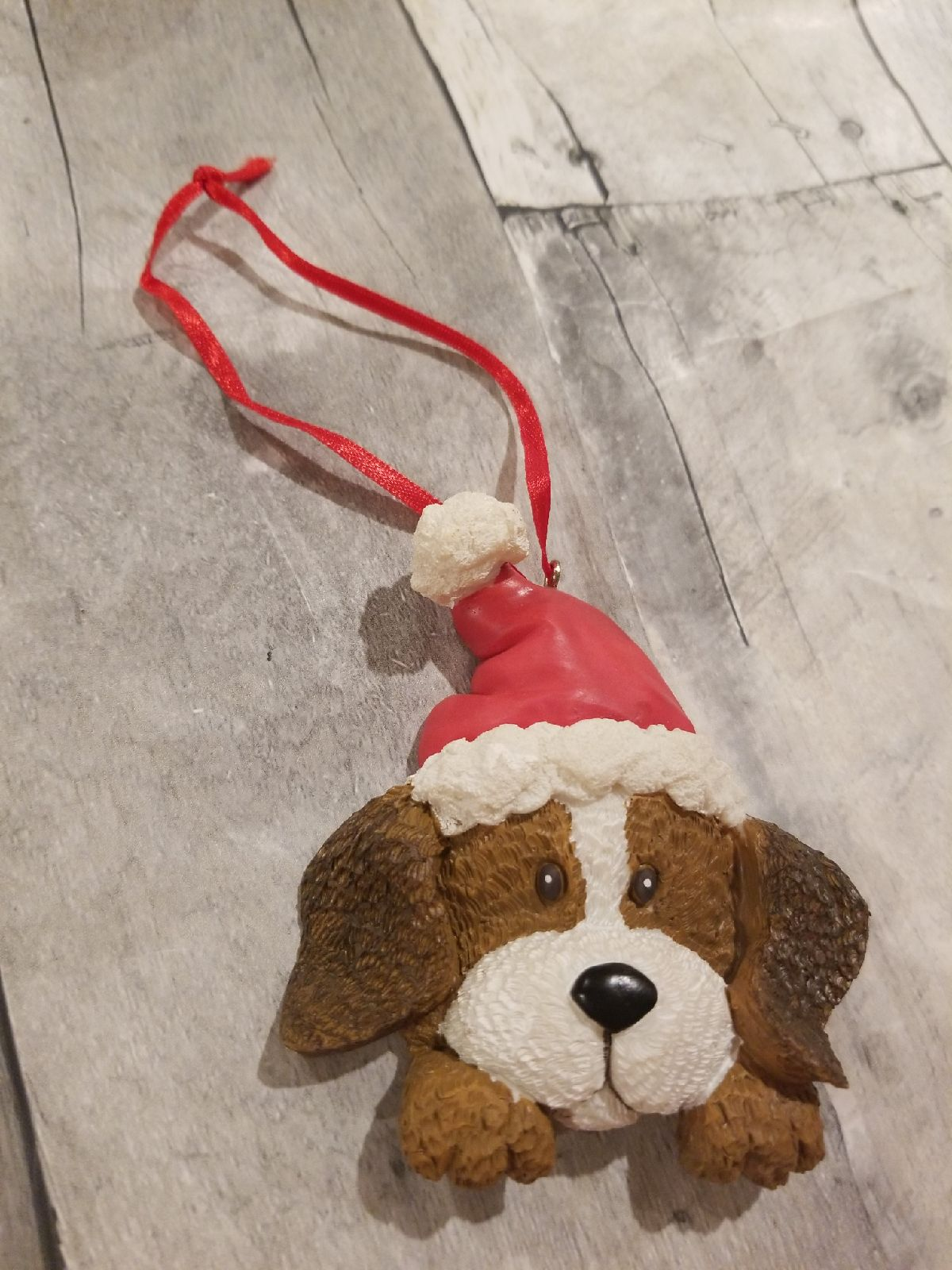 Dog with santa hat Christmas tree Orname