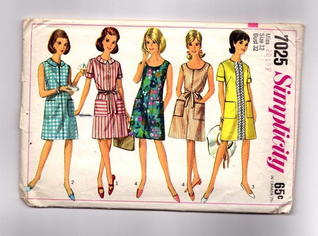 Vintage Pattern 1960s House Dress