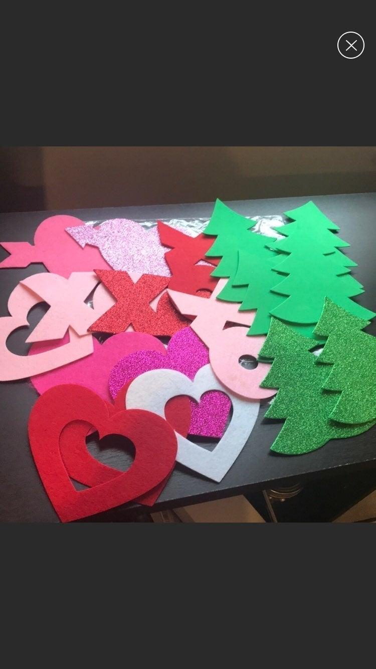 Heart & Christmas Tree Felt Decorations