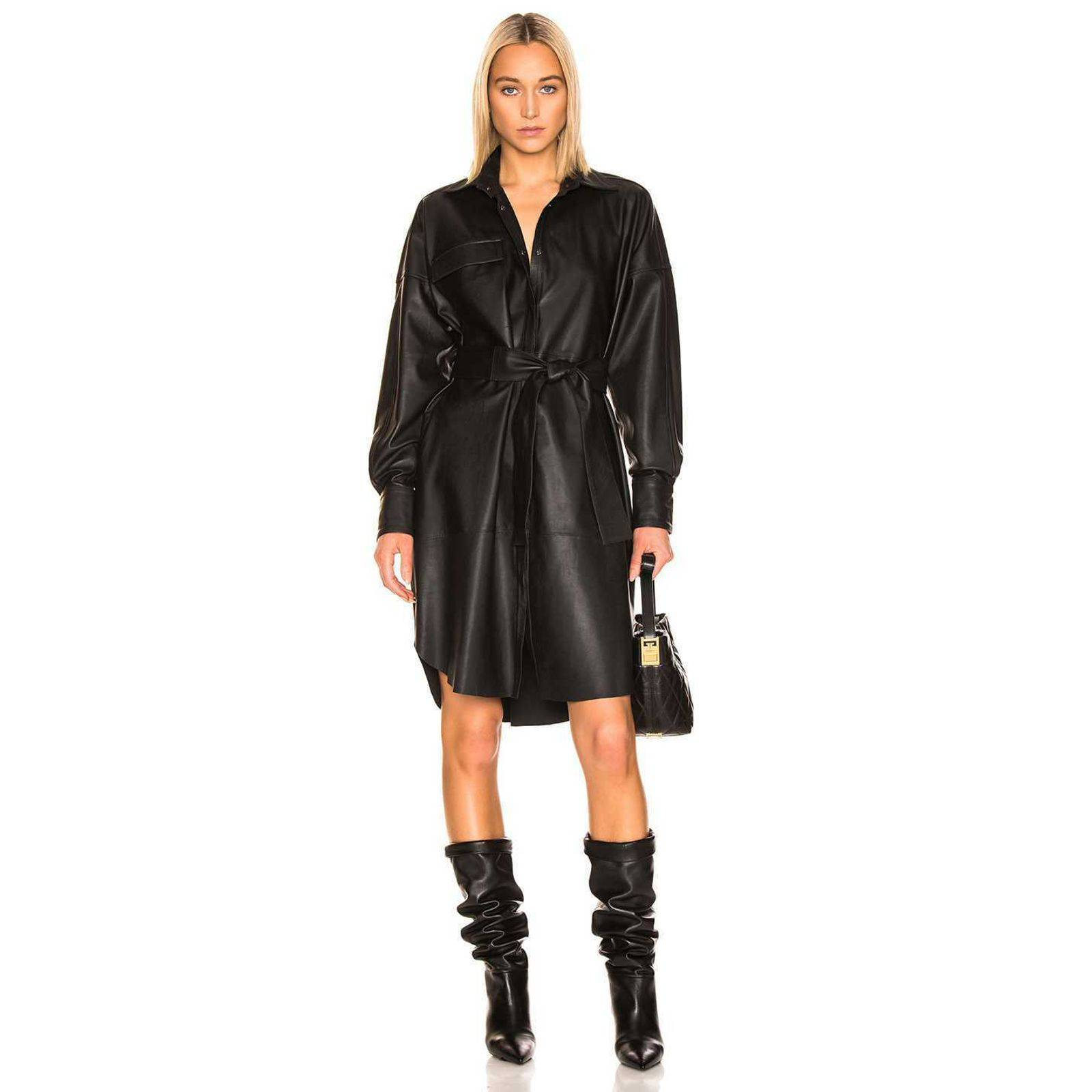 REMAIN Bologna Leather Belt Shirt Dress