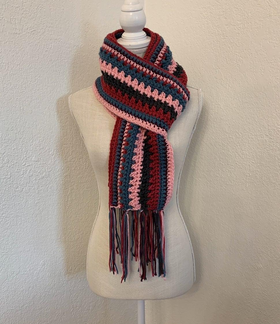 Knit Crochet Handmade Colorful Scarf