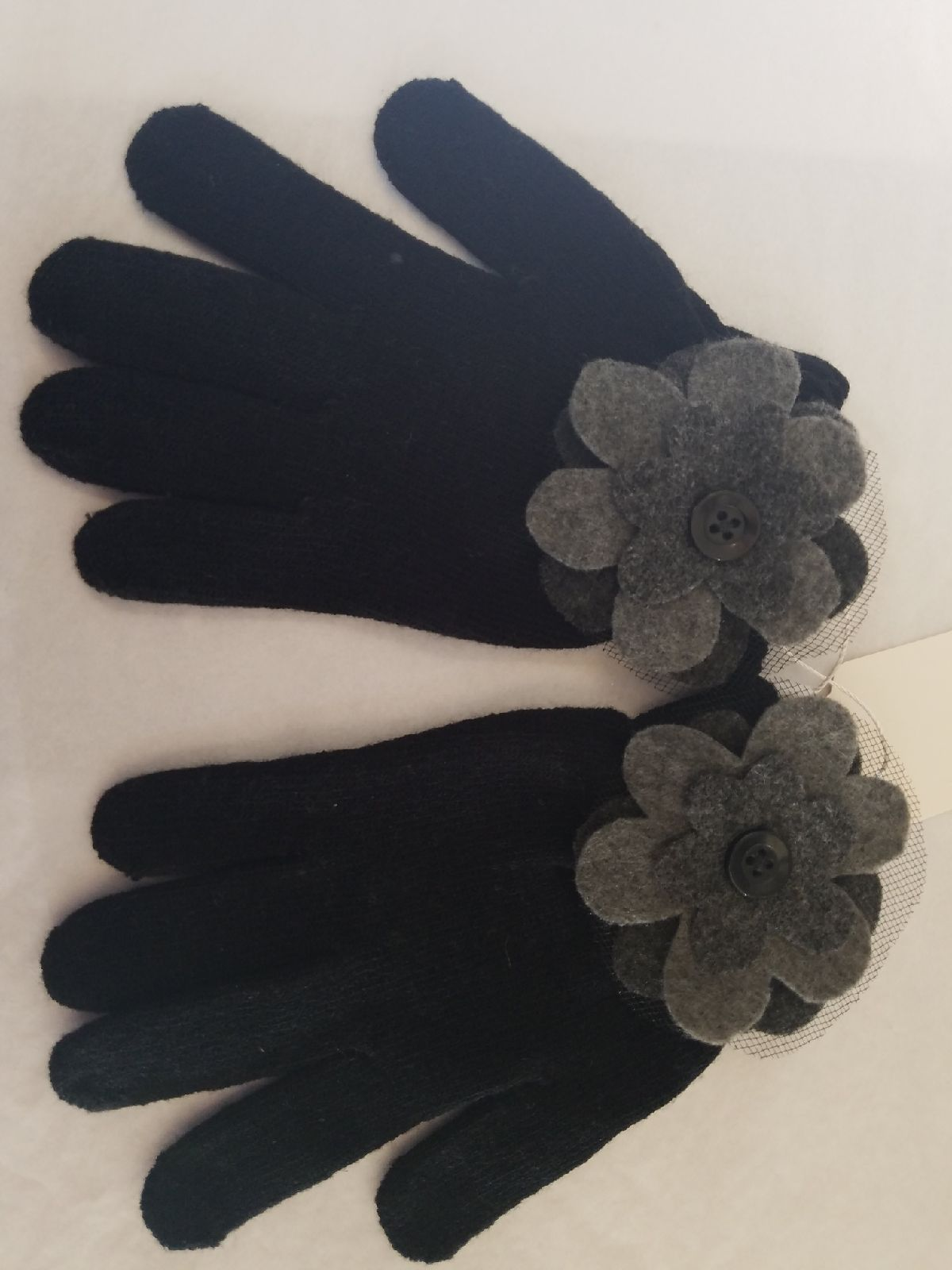 Black Gloves with Gray Flower