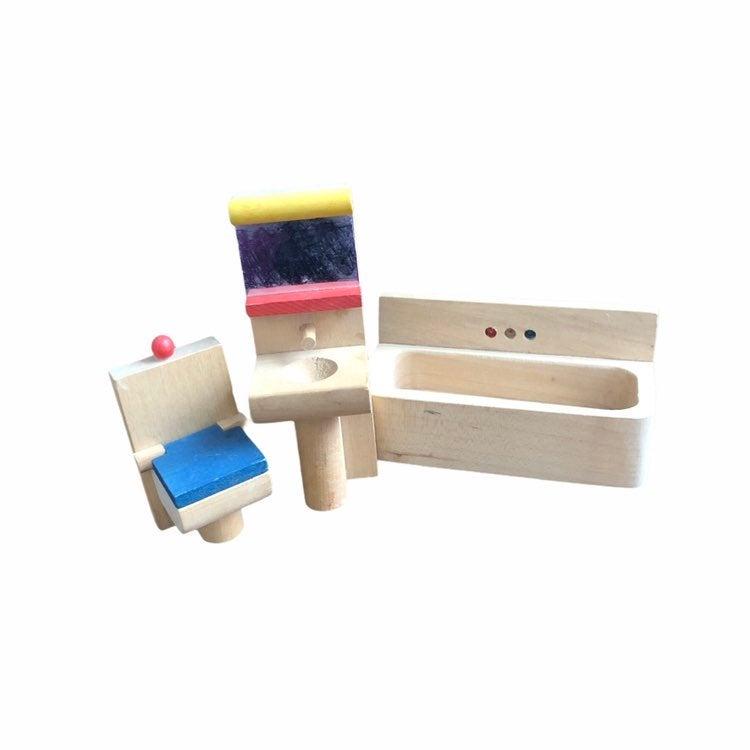 Wooden Dollhouse Bathroom Furniture Set