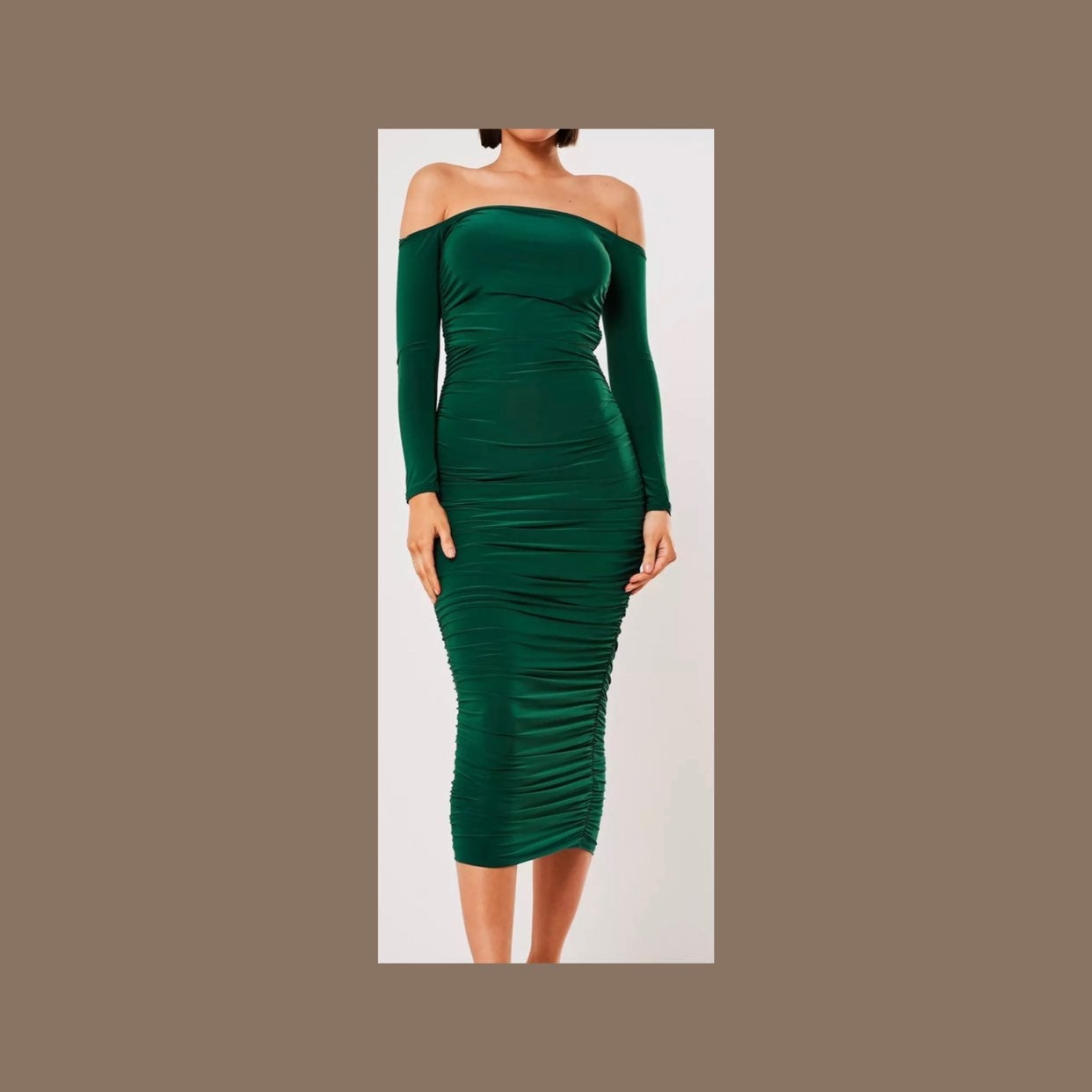 Dark Green Bardot Ruched Bodycon Midaxi