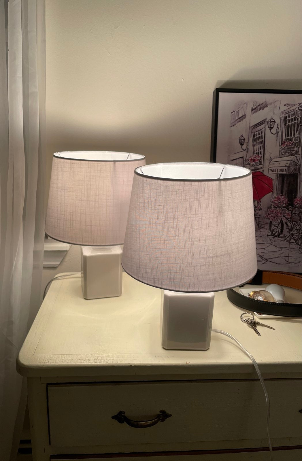 Cottage style set of two table lamps