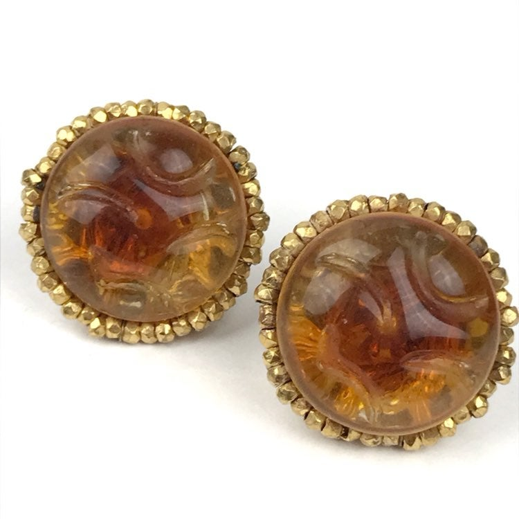 Miriam Haskell Screw Back Button Earring