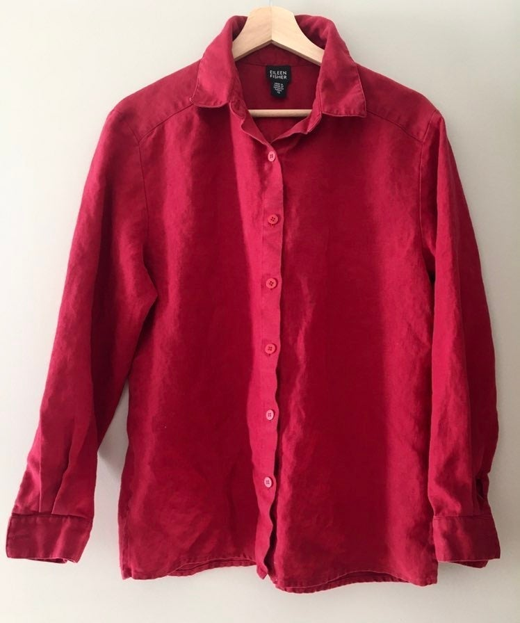 Eileen Fisher Red Linen Blouse