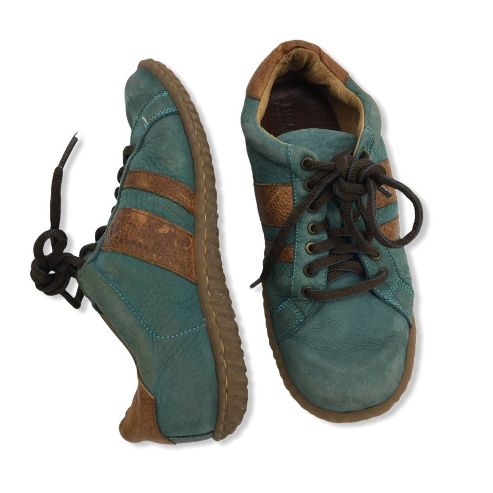 BORN Teal Brown Lace Up Leather Sneakers