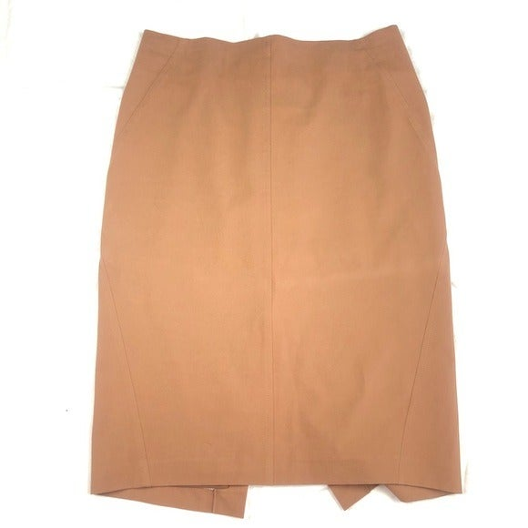 Brunello Cucinelli tan pencil skirt 12