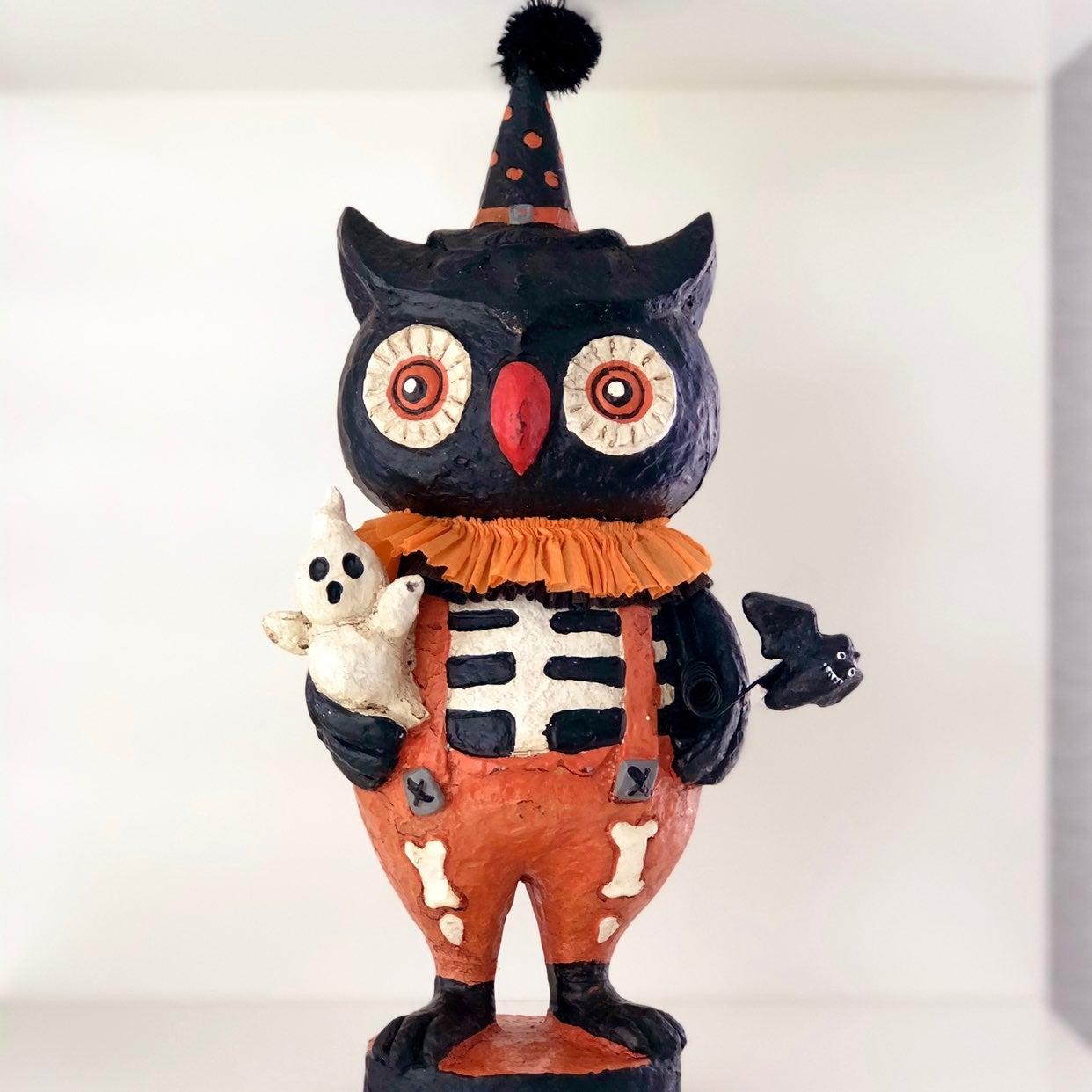 Vintage Halloween Black Owl Figurine