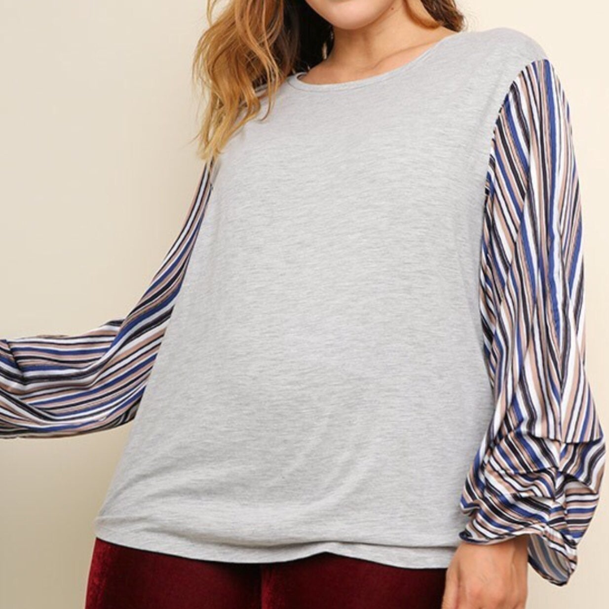 Umgee Gray Striped Sleeve Top, 2X