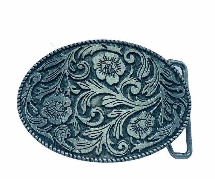 Flower Floral belt buckle vtg Rage steel