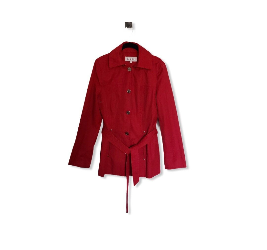 Calvin Klein Red Hooded Rain Coat