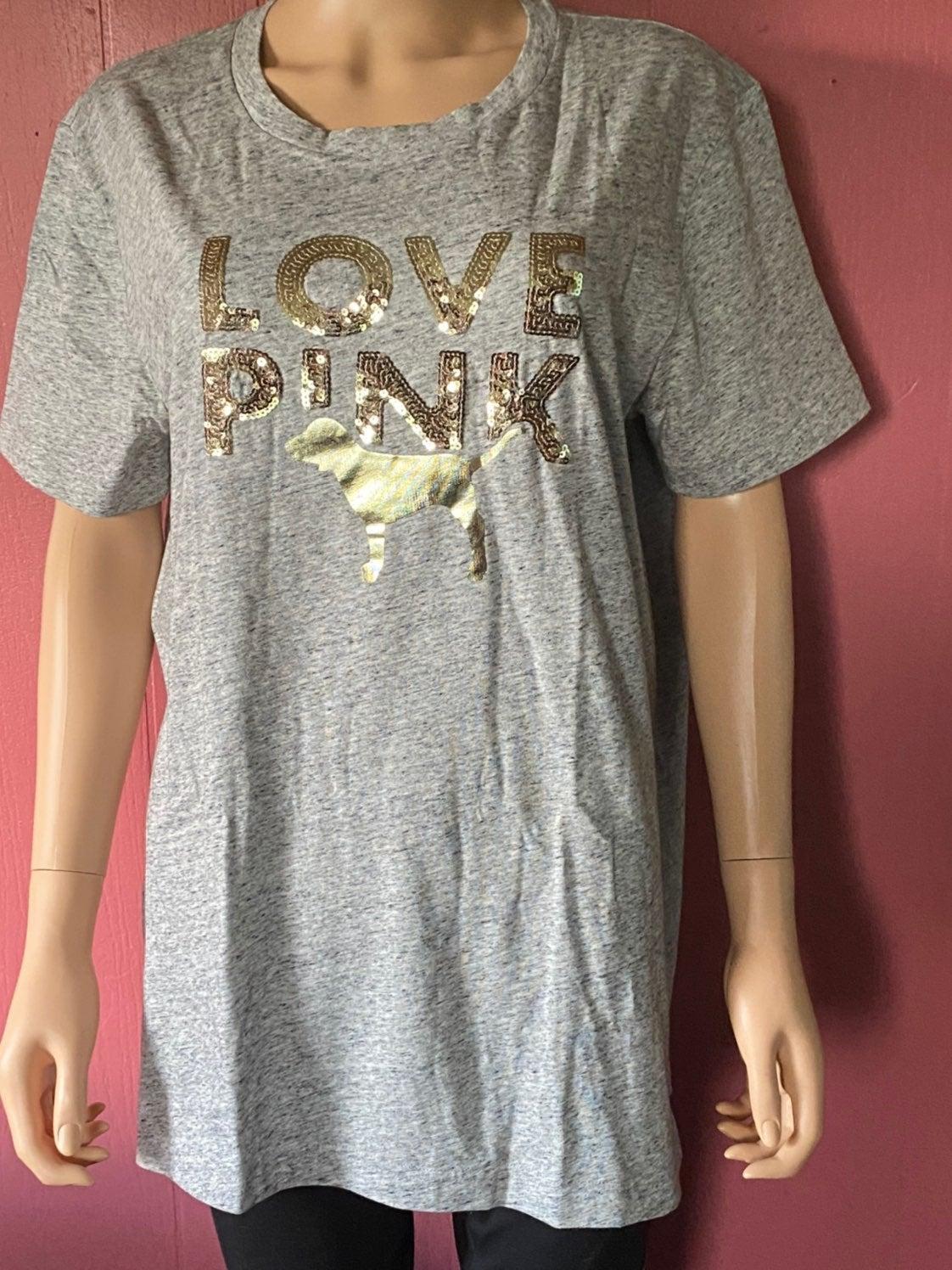 VS Pink Bling campus tee shirt large
