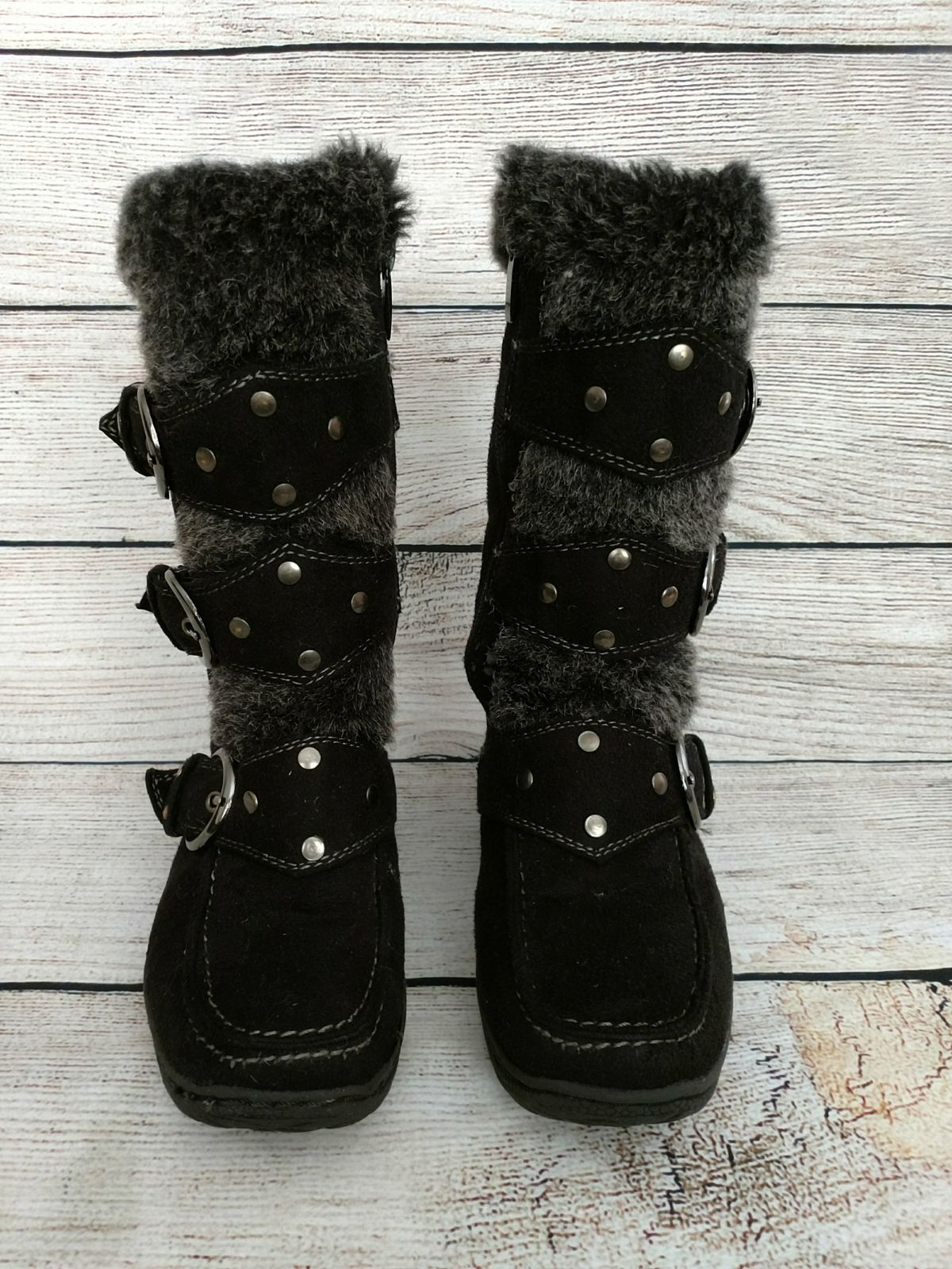 Lucky Top black girls suede boots size 9