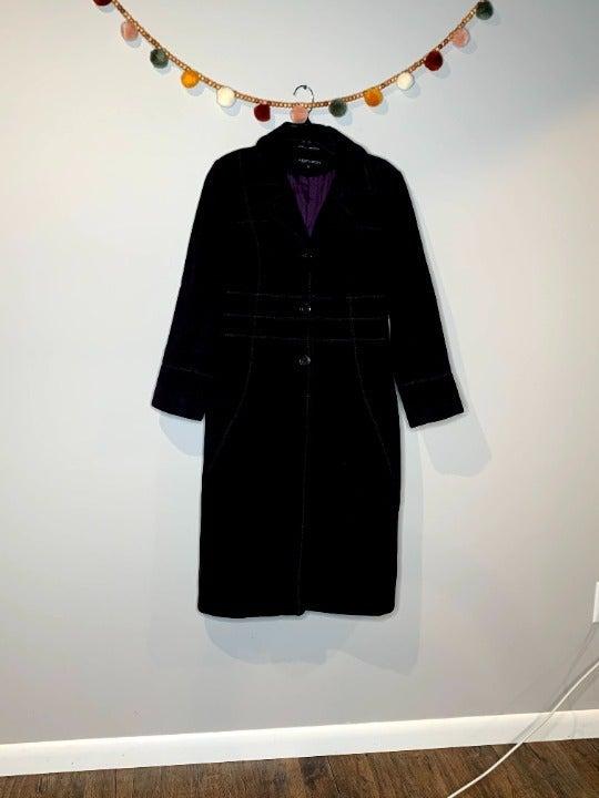 Albert Nipon purple long pea coat