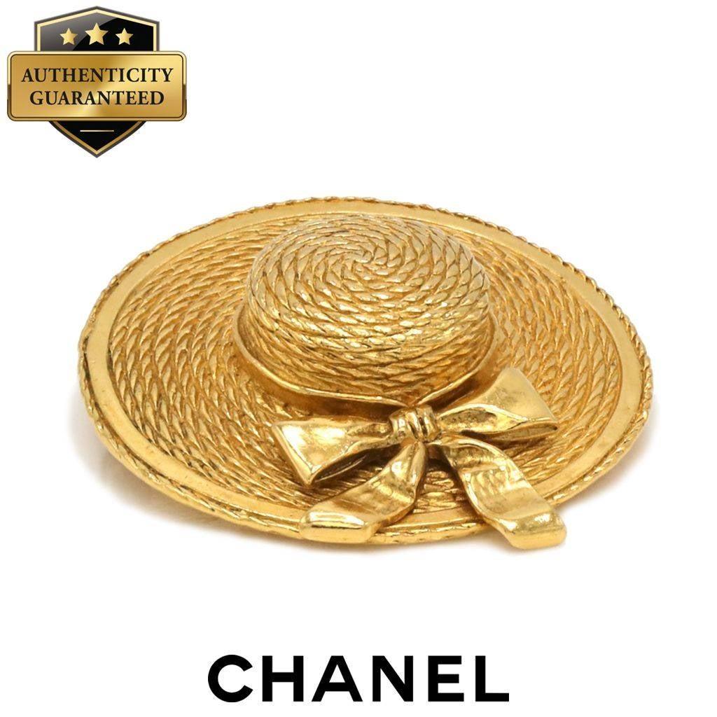 CHANEL Vintage Gold Tone Hat Brooch 70's