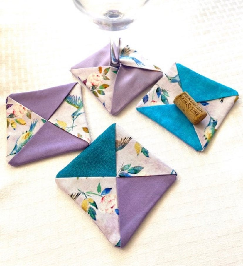 Hummingbird Fabric Wine Glass Coasters
