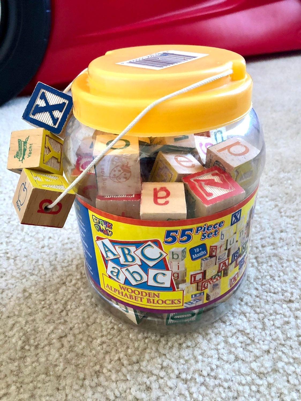 Wood alphabet Building blocks for kids