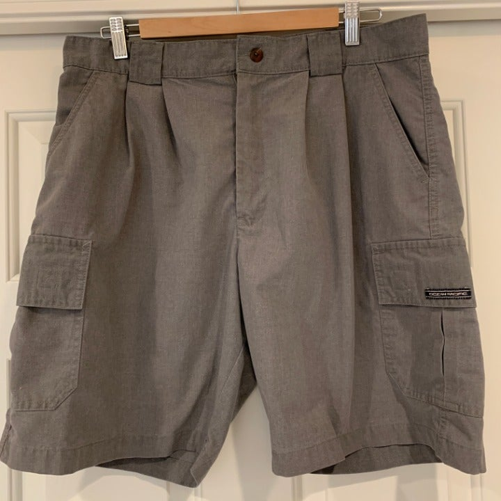 """OP Mens Gray Pleated Cargo Shorts 34""""x9"""""""