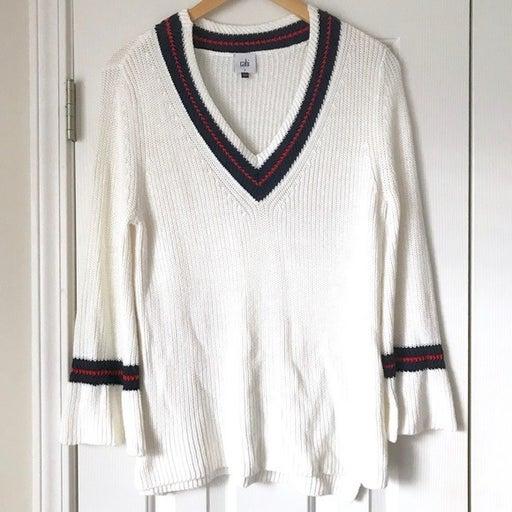Cabi cream navy red varsity sweater