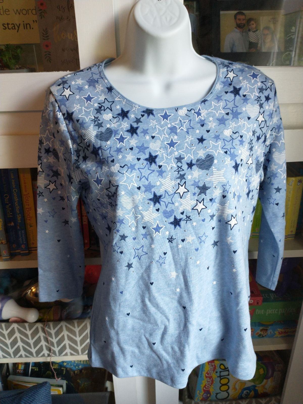 NEW Karen Scott 3/4 length blue shirt
