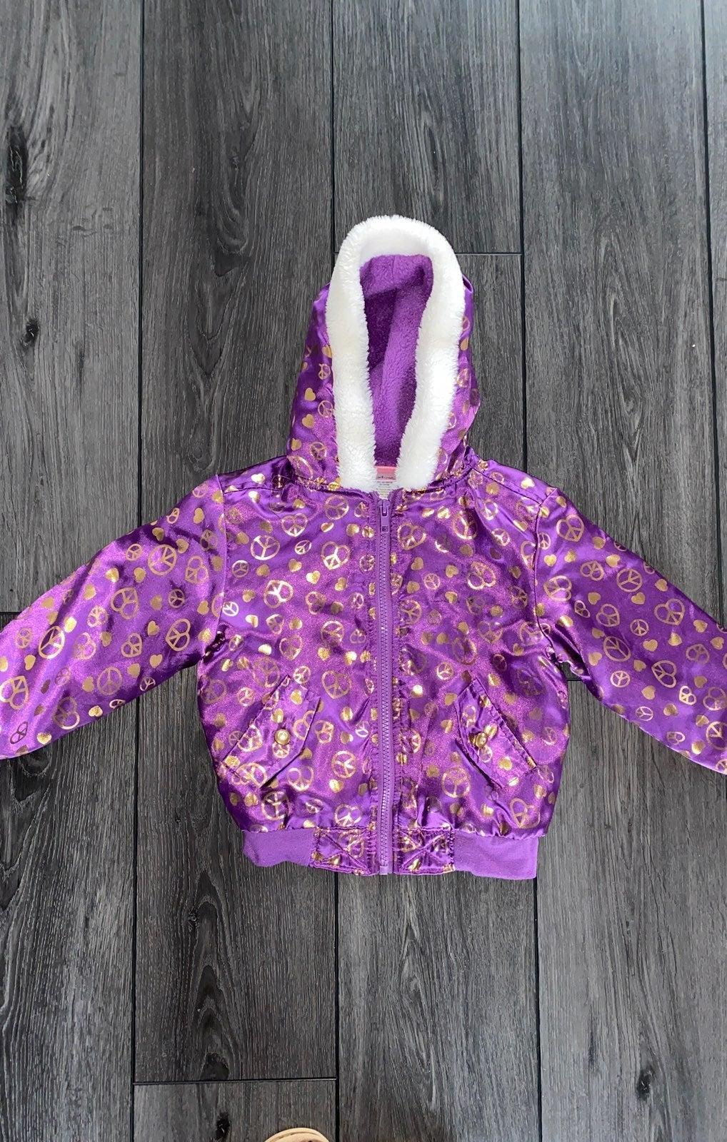 4T purple fleece lined jacket with hood