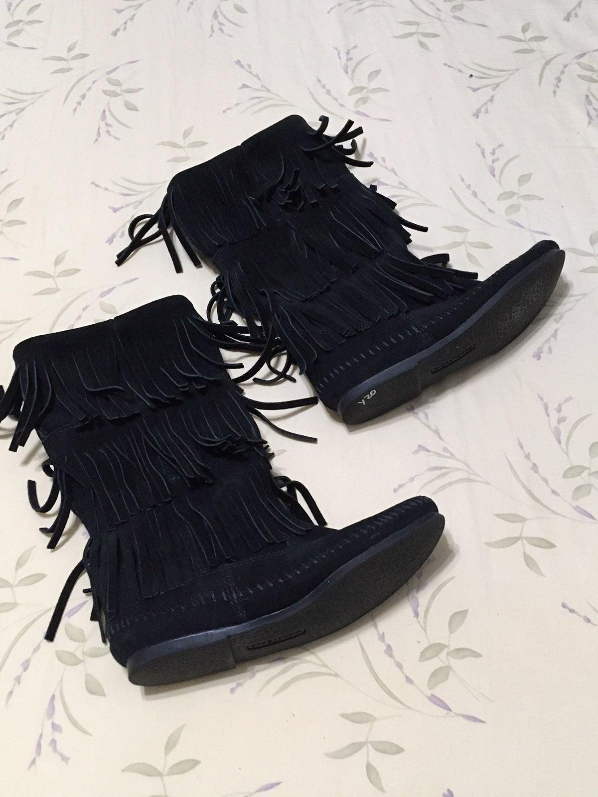 Black Fringe Leather Boots