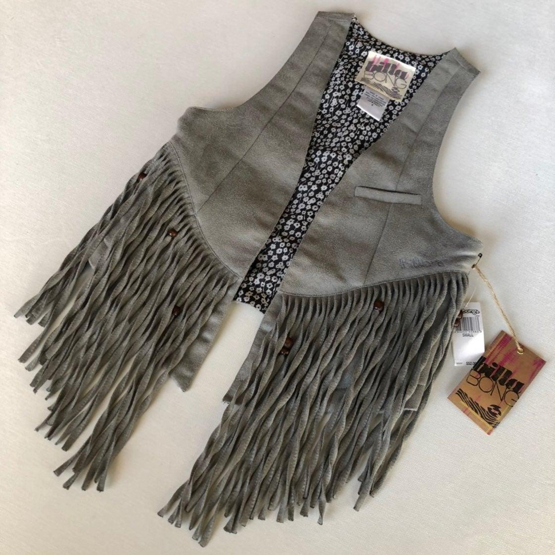 Billabong faux suede fringe vest