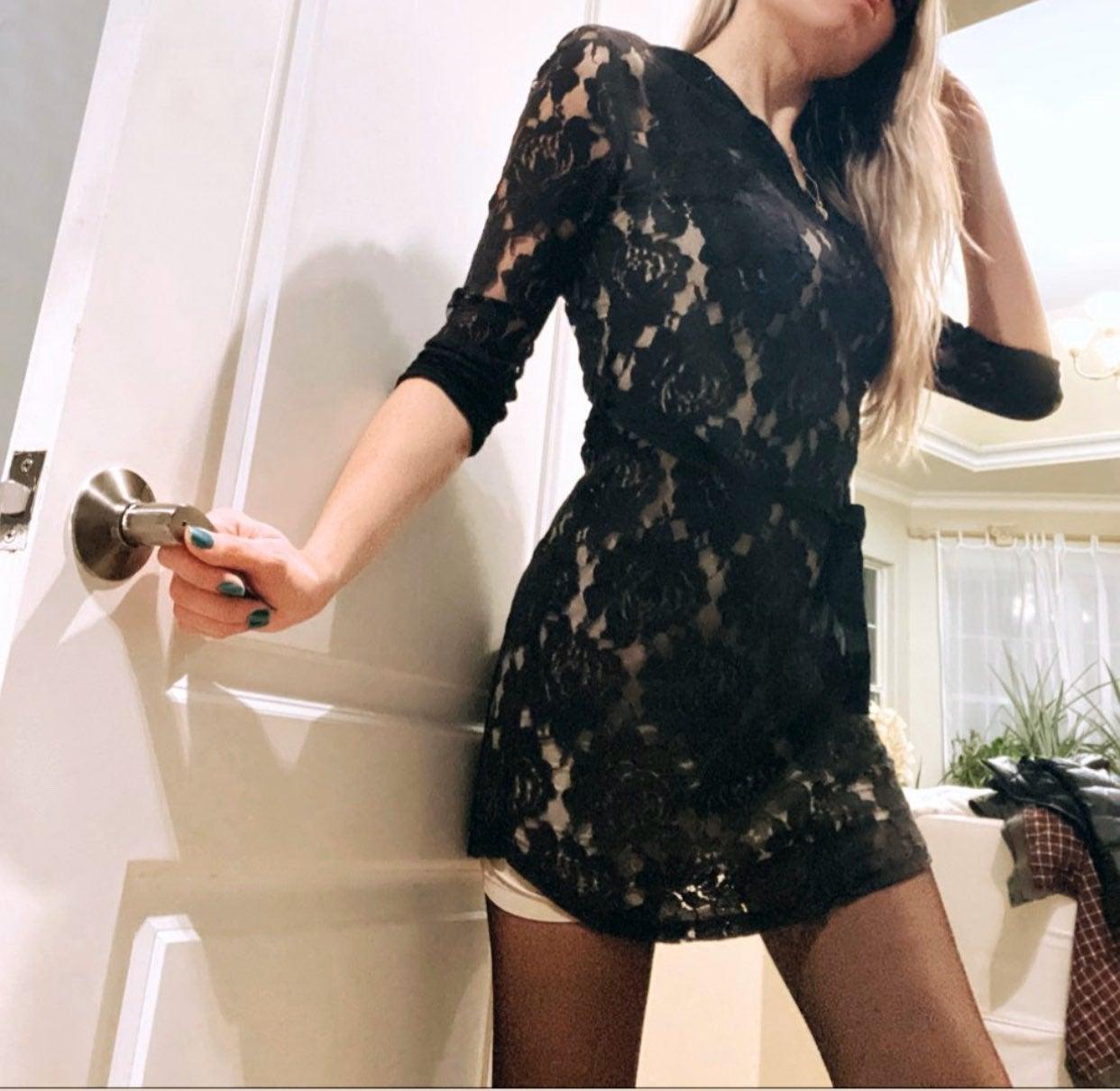 Monteau dress S black lace mini valentin