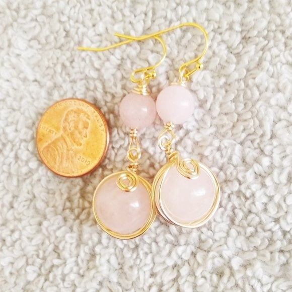 Massive Wrapped Rose Quartz Earrings