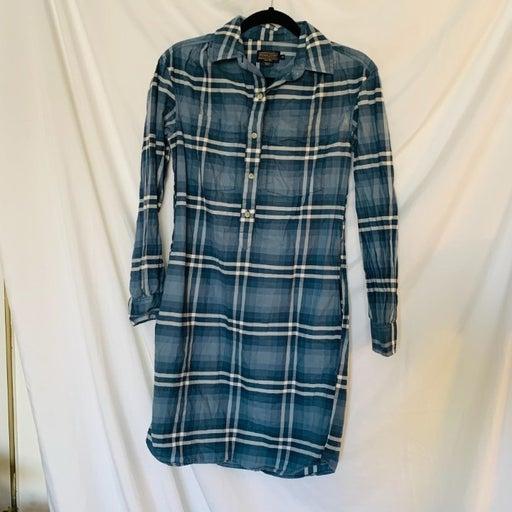 Pendleton plaid navy shirt dress