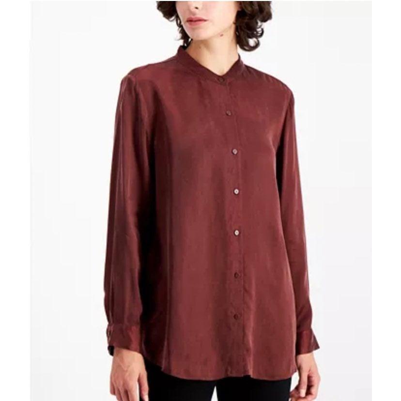 Eileen Fisher 100% Linen Maroon Blouse