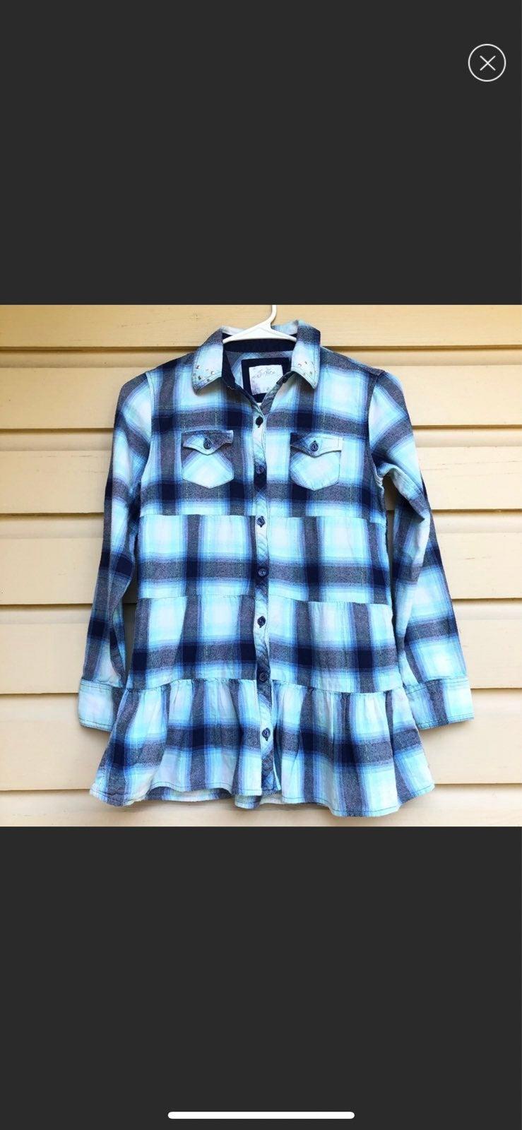 Justice Girls Plaid Shirt Button down 12