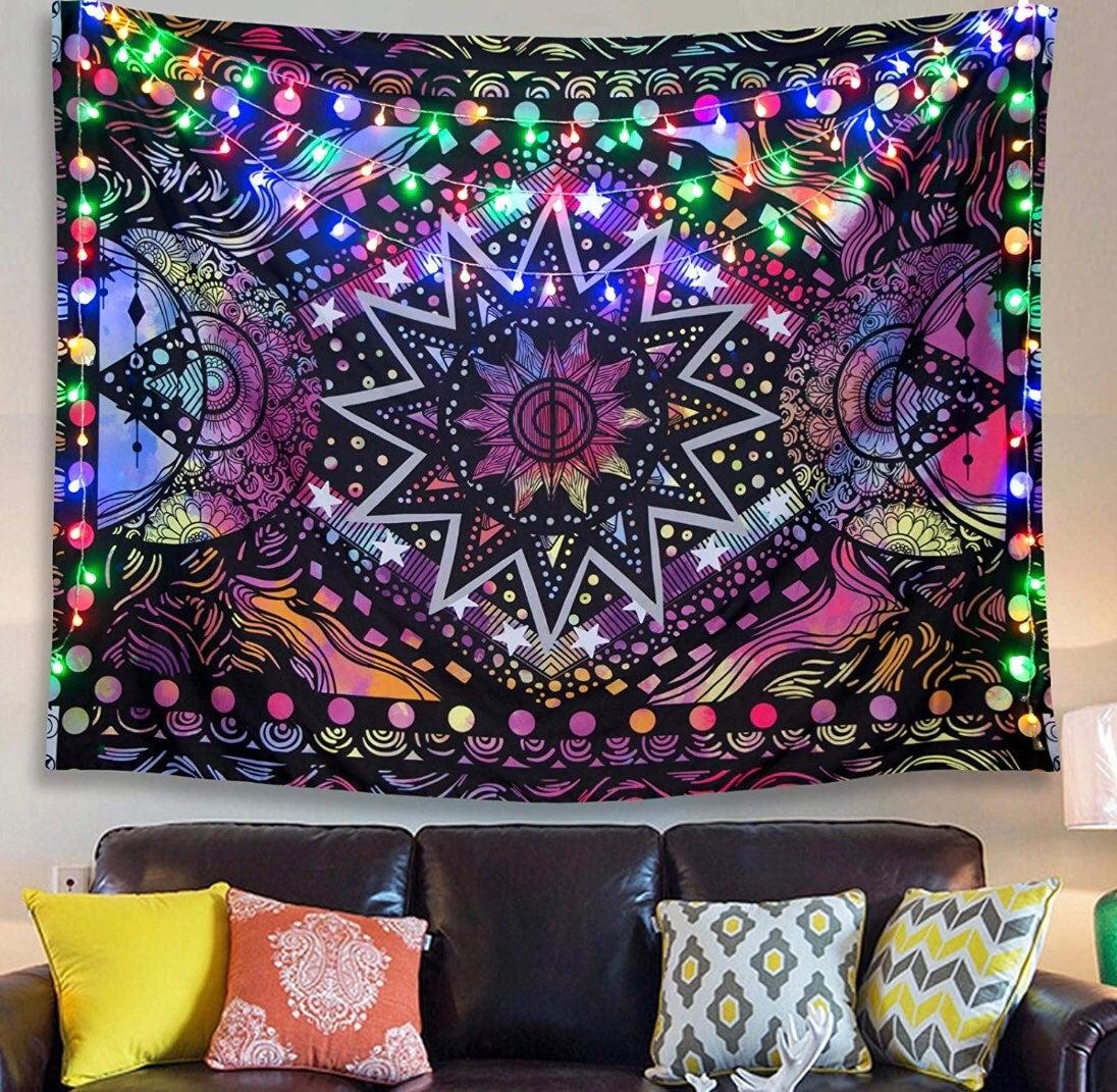 Sun & Moon Colorfu Trippy Tapestry
