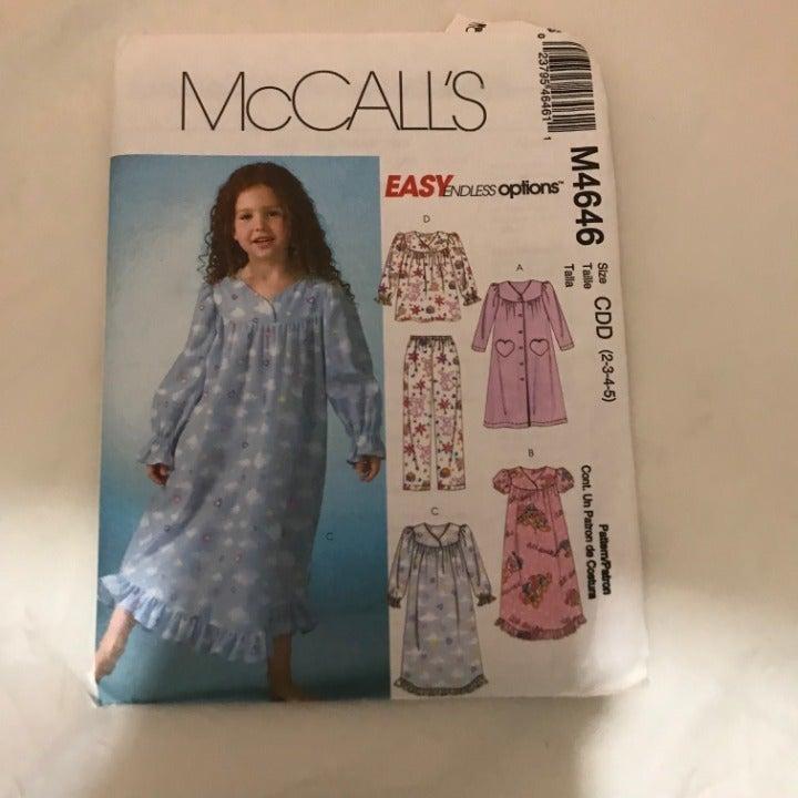 M4646 McCalls girls nightgown pattern