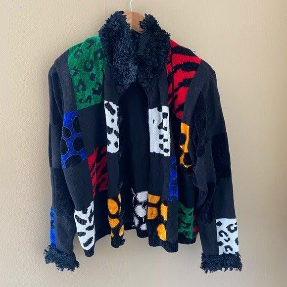 Berek Vintage Black Sweater Animal print