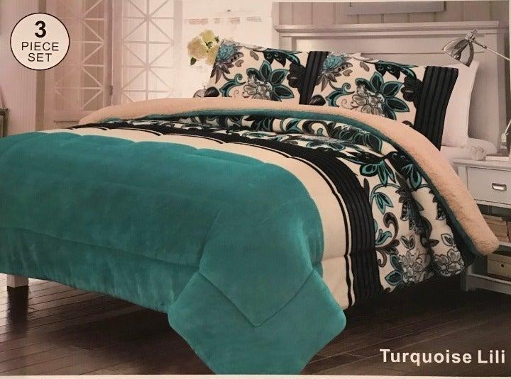 Turquoise Borrego Blanket 3PC Set Queen