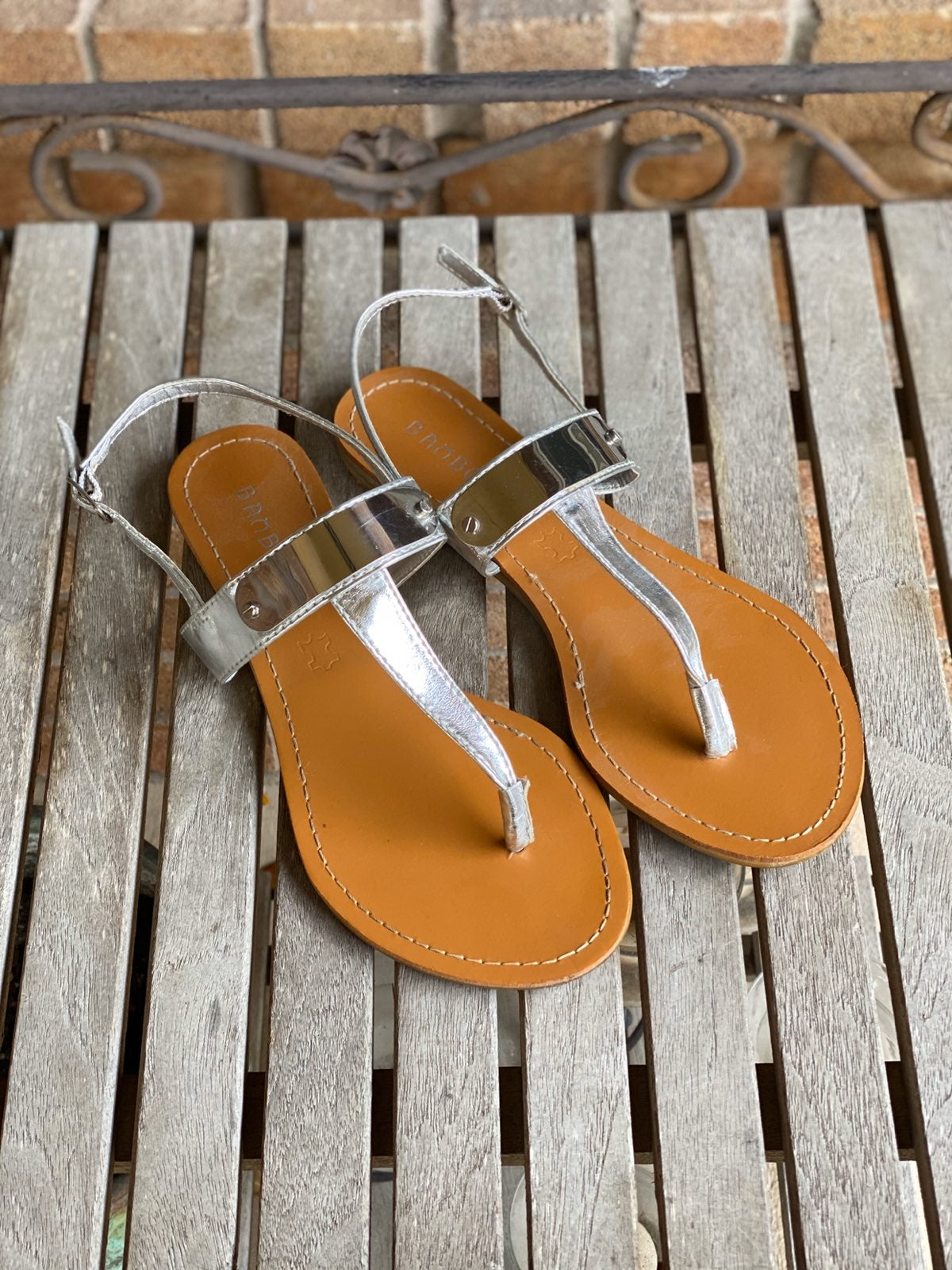 Bamboo Silver Metallic Thong Sandals