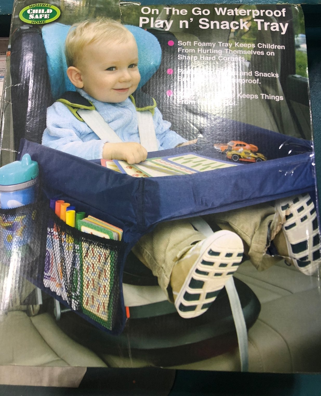 On the go waterproof play n snack tray