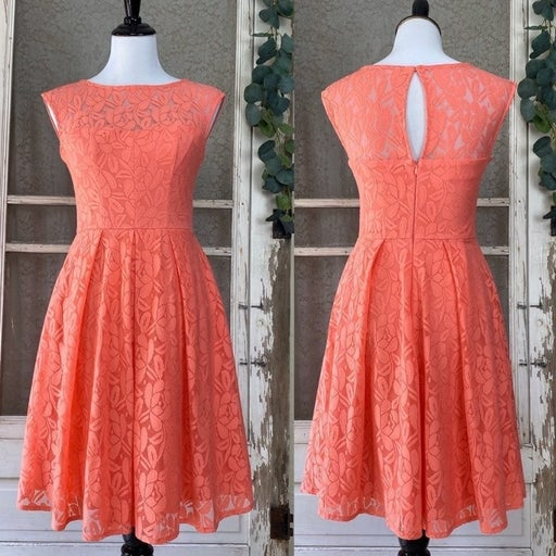 London Times Lace Floral Coral Dress NWT