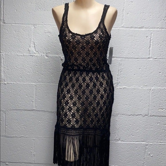 NWT knitted coverup black dress