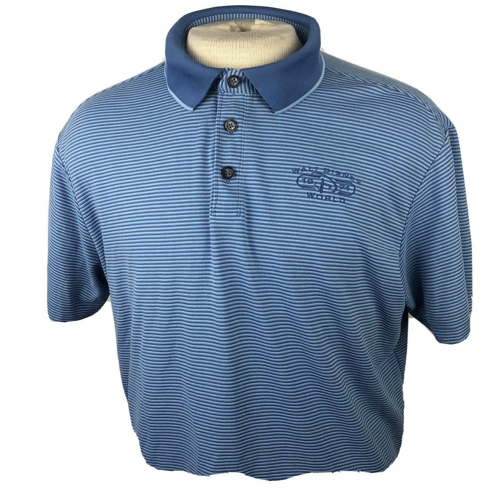 Disney Mens Blue Striped Polo Size Xl